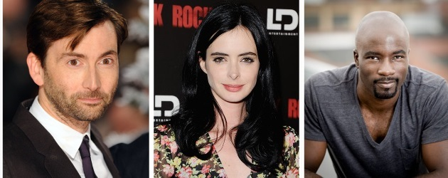 Marvel's AKA Jessica Jones for Netflix Stars Krysten Ritter as Jessica Jones, Mike Colter as Luke Cage and David Tennant as Kilgrave